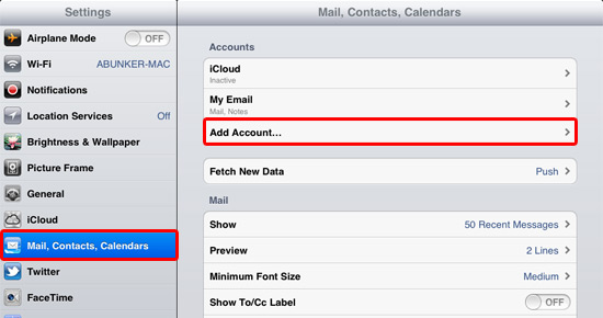 From the setting menu, choose Mail, Contacts, Calendars followed by Add Account…