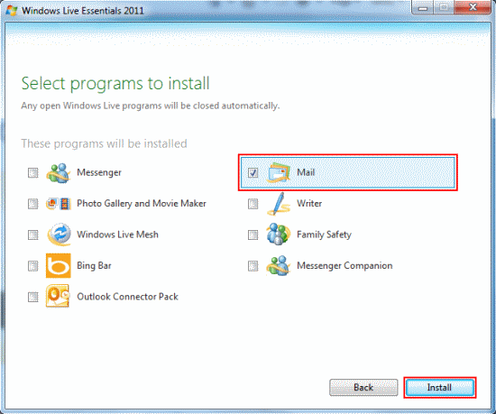 Choose which programs you want to install.